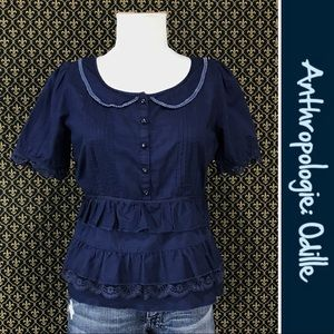 Anthro Tiered Peter-pan Collar Blouse by Odille